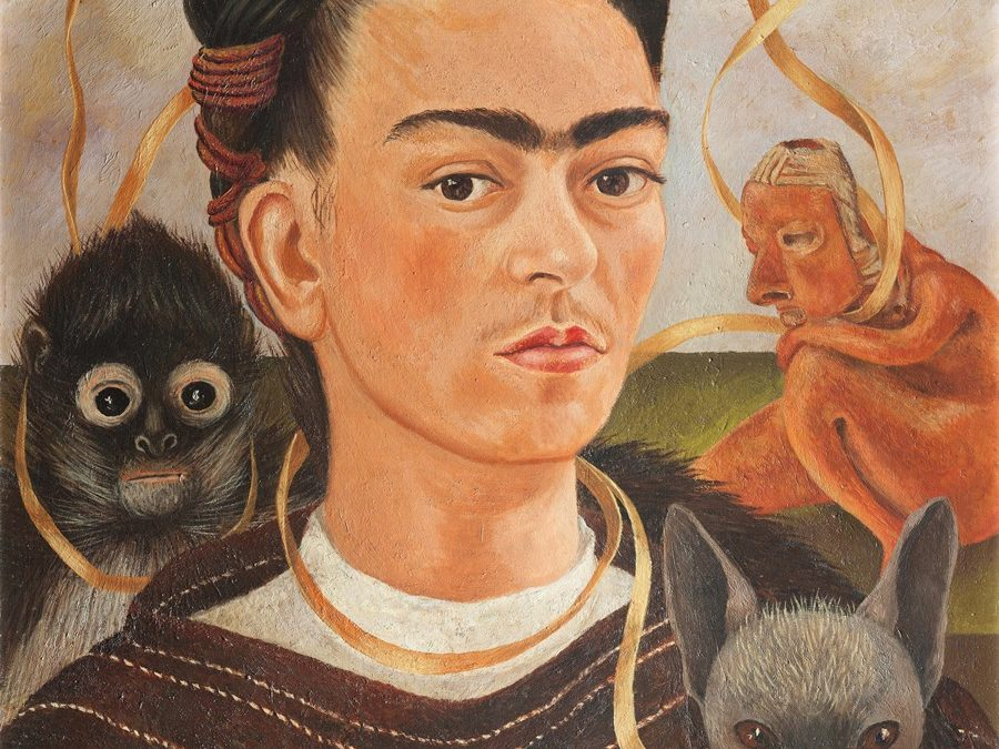 Frida Kahlo, Self-Portrait with Small Monkey, 1945, olieverf op masoniet, Museo Dolores Olmedo, Mexico City